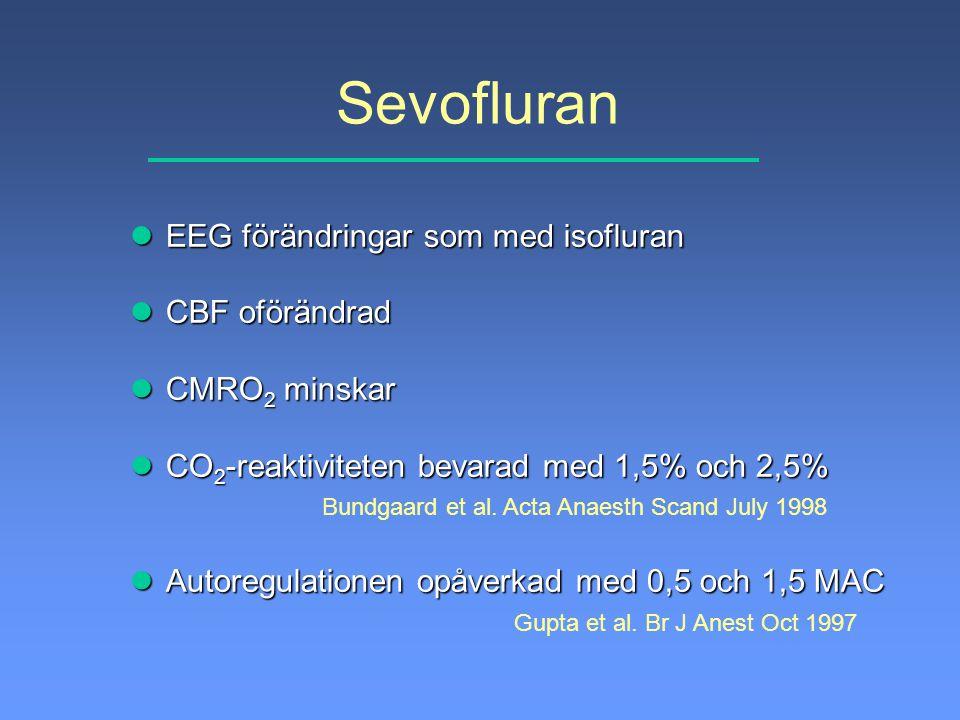 Sevofluran lEEG förändringar som med isofluran lCBF oförändrad lCMRO 2 minskar lCO 2 -reaktiviteten bevarad med 1,5% och 2,5% Bundgaard et al. Acta An