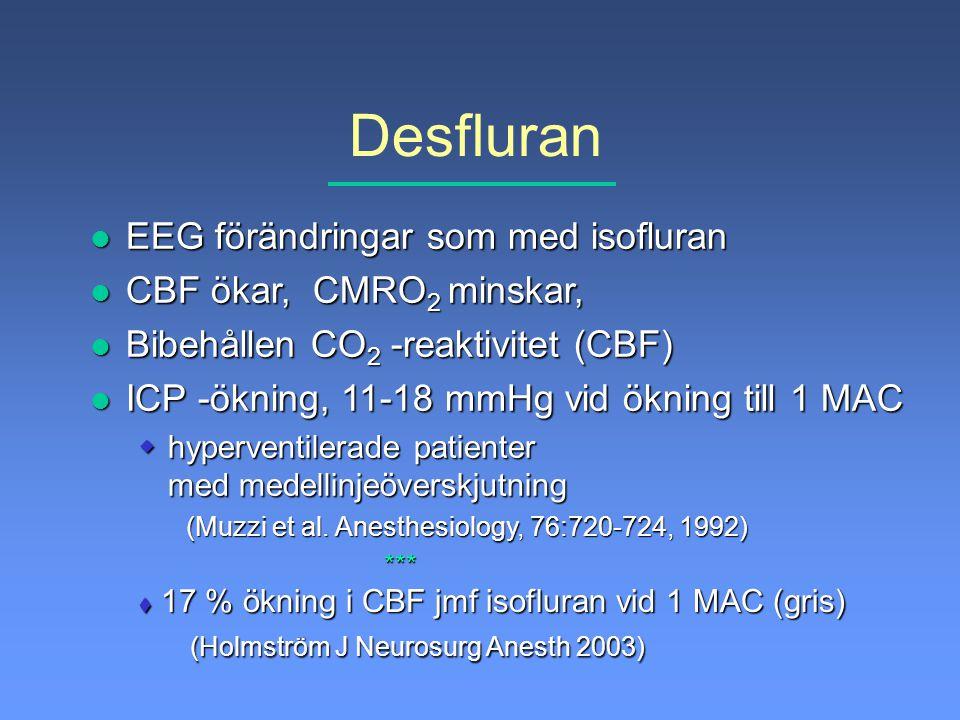 Desfluran l EEG förändringar som med isofluran l CBF ökar, CMRO 2 minskar, l Bibehållen CO 2 -reaktivitet (CBF) l ICP -ökning, 11-18 mmHg vid ökning t