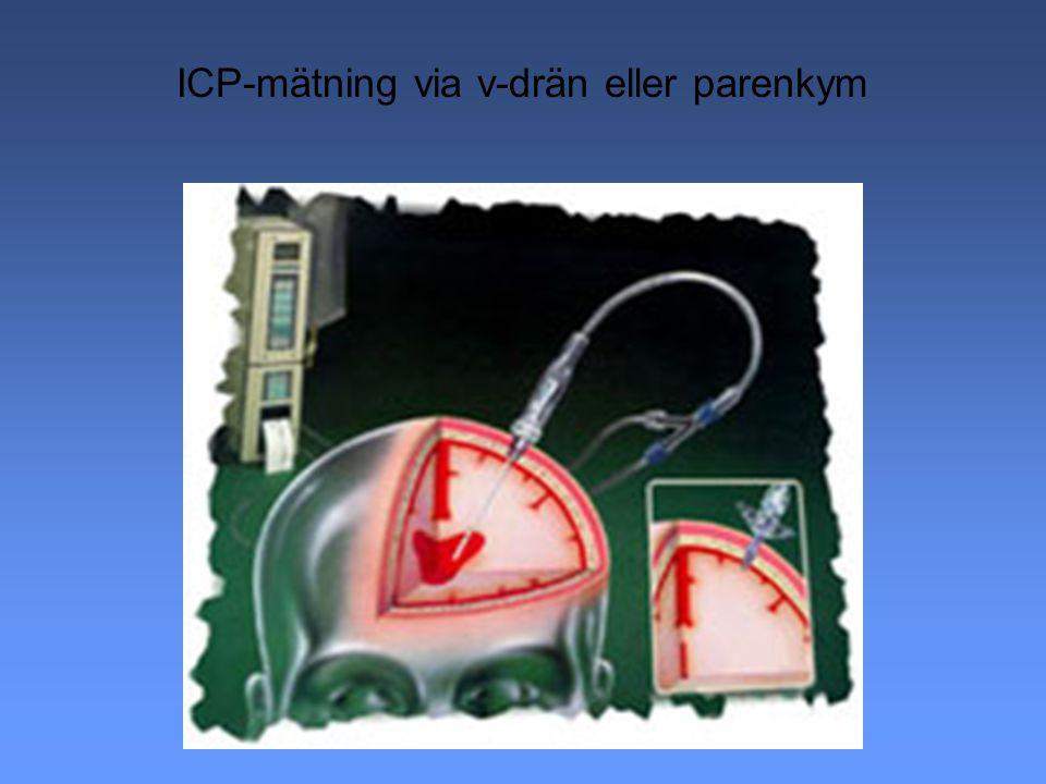 KONTROLL AV ICP Minska hjärnans volym l Minska hjärnans blodvolym l Minska interstitiella volymen = Dehydrering l Utrymning l Liquor dränage
