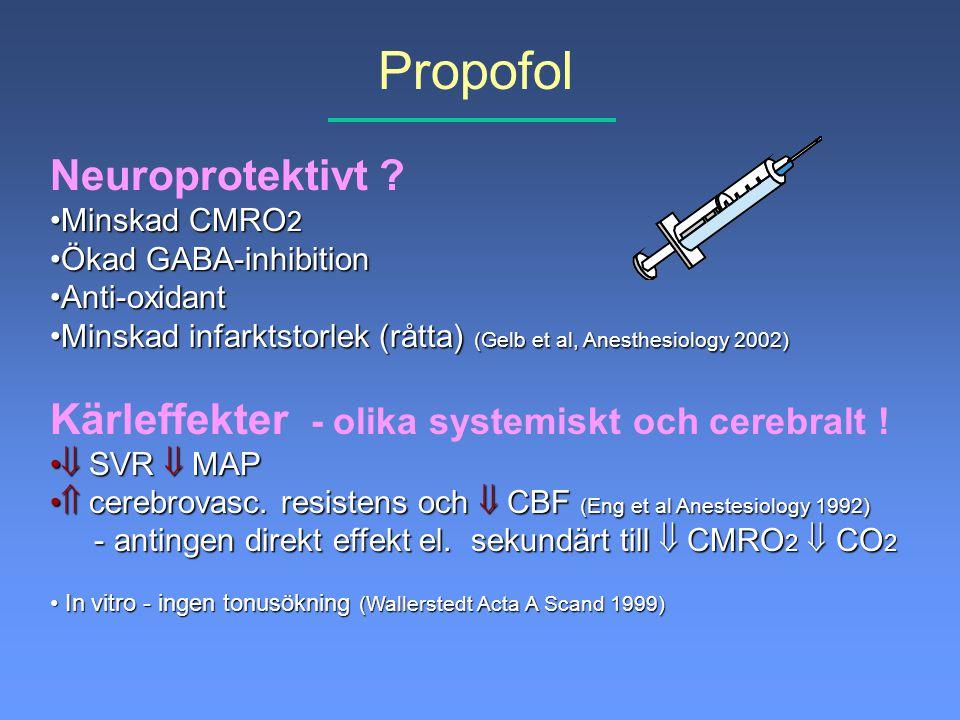 Propofol Neuroprotektivt ? Minskad CMRO 2Minskad CMRO 2 Ökad GABA-inhibitionÖkad GABA-inhibition Anti-oxidantAnti-oxidant Minskad infarktstorlek (rått