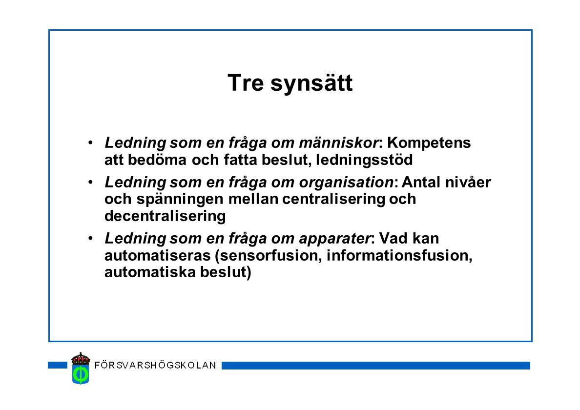 Stadier i ledningsprocessen Command and Control (Anglosaxisk litteratur) Planering - Genomförande - Uppföljning (Svensk modell) Utveckling av Command Concept (Operativ ide) - Planering - Genomförande - Uppföljning (Egen modell)