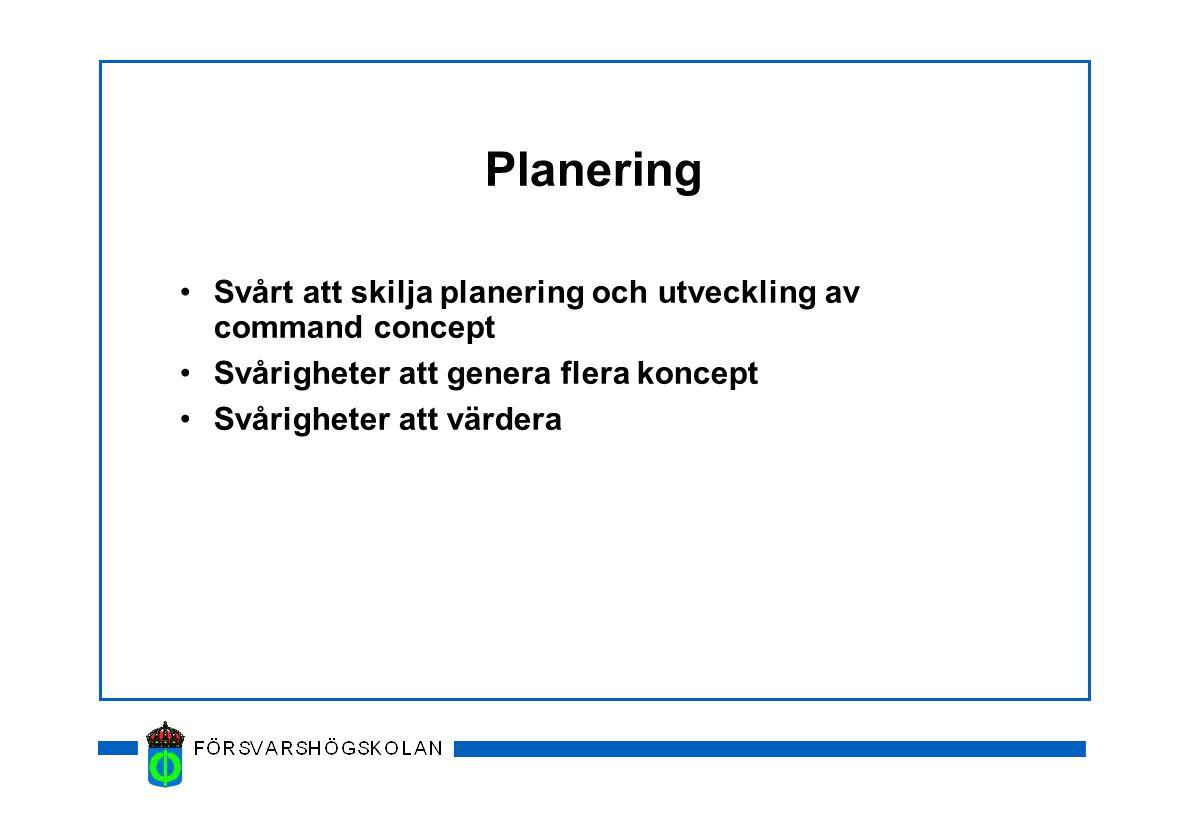Planering Svårt att skilja planering och utveckling av command concept Svårigheter att genera flera koncept Svårigheter att värdera