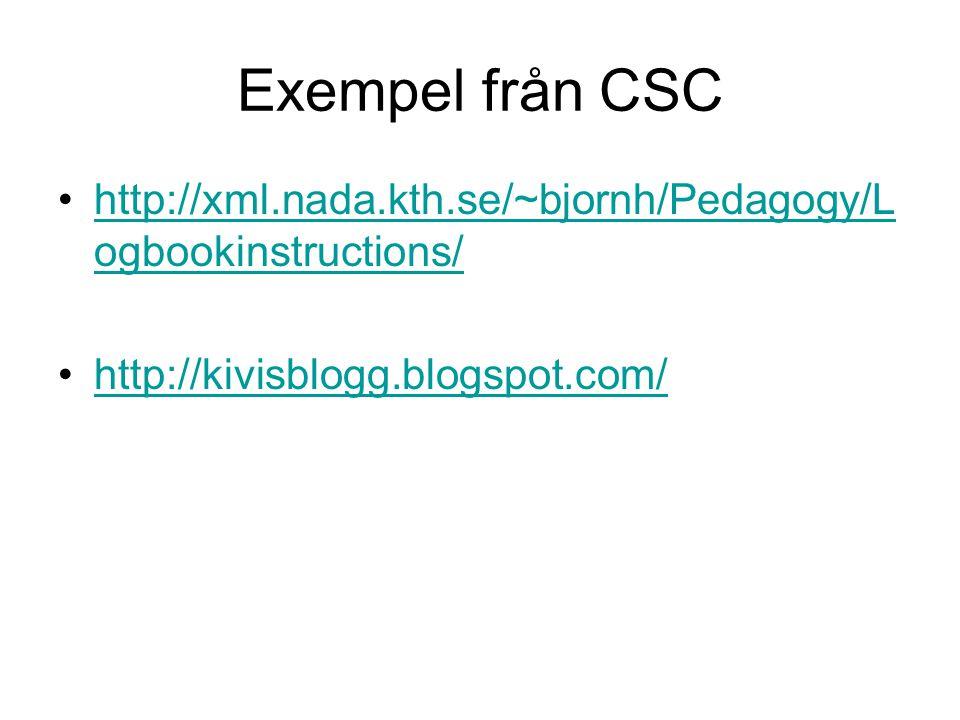 Exempel från CSC http://xml.nada.kth.se/~bjornh/Pedagogy/L ogbookinstructions/http://xml.nada.kth.se/~bjornh/Pedagogy/L ogbookinstructions/ http://kiv