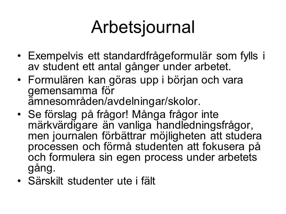 Arbetsjournal Exempelvis ett standardfrågeformulär som fylls i av student ett antal gånger under arbetet. Formulären kan göras upp i början och vara g