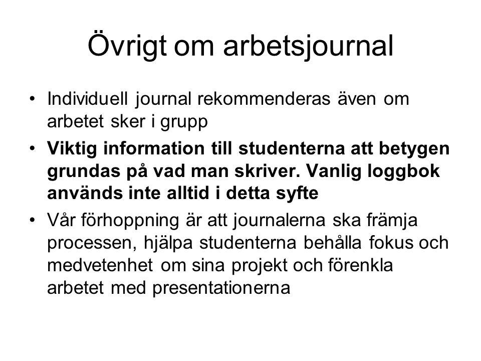 Övrigt om arbetsjournal Individuell journal rekommenderas även om arbetet sker i grupp Viktig information till studenterna att betygen grundas på vad man skriver.