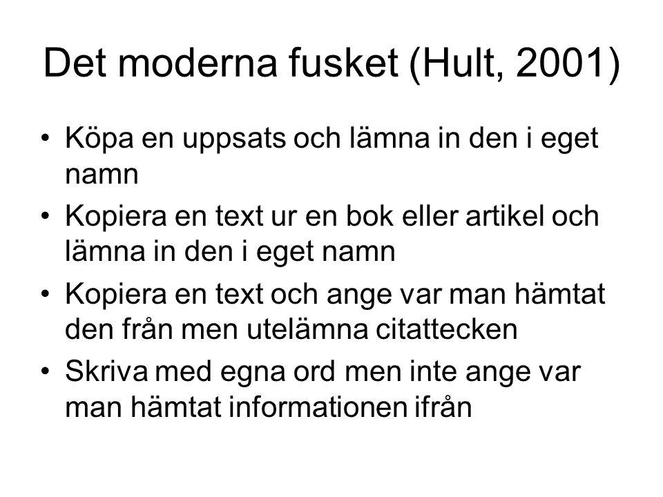 Det moderna fusket (Hult, 2001) Köpa en uppsats och lämna in den i eget namn Kopiera en text ur en bok eller artikel och lämna in den i eget namn Kopi