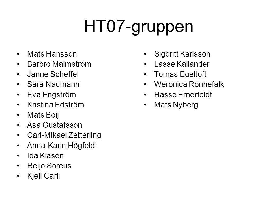 HT07-gruppen Mats Hansson Barbro Malmström Janne Scheffel Sara Naumann Eva Engström Kristina Edström Mats Boij Åsa Gustafsson Carl-Mikael Zetterling A