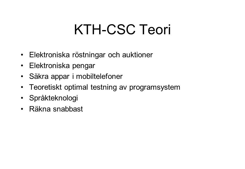 KTH-CSC Teori Elektroniska röstningar och auktioner Elektroniska pengar Säkra appar i mobiltelefoner Teoretiskt optimal testning av programsystem Språkteknologi Räkna snabbast