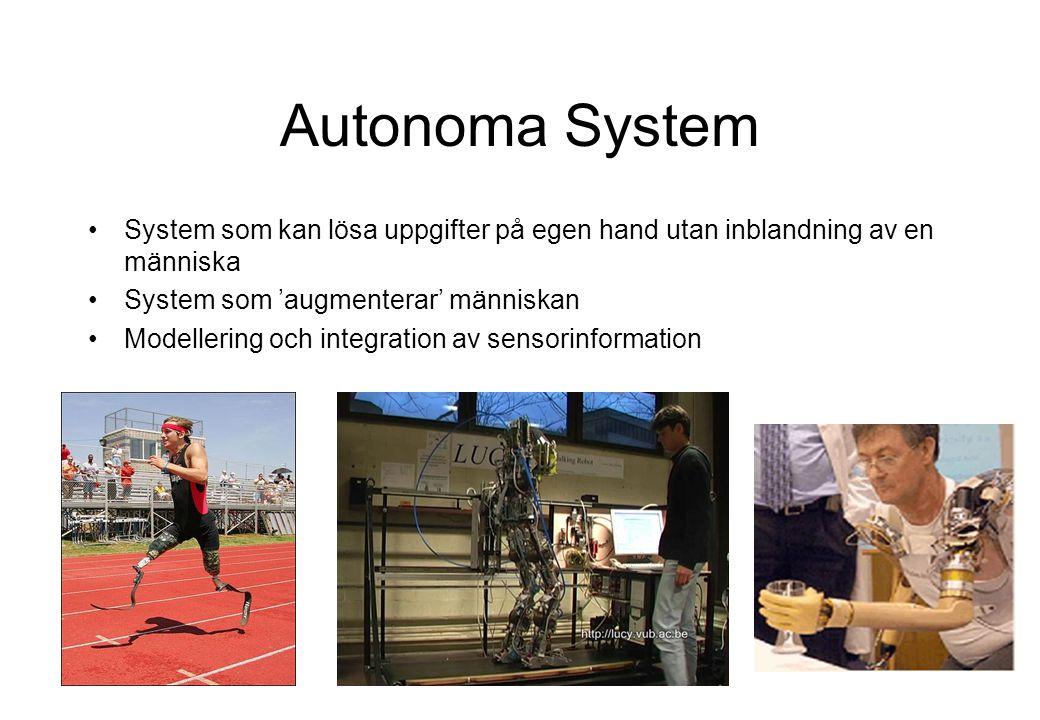 Autonoma System System som kan lösa uppgifter på egen hand utan inblandning av en människa System som 'augmenterar' människan Modellering och integration av sensorinformation