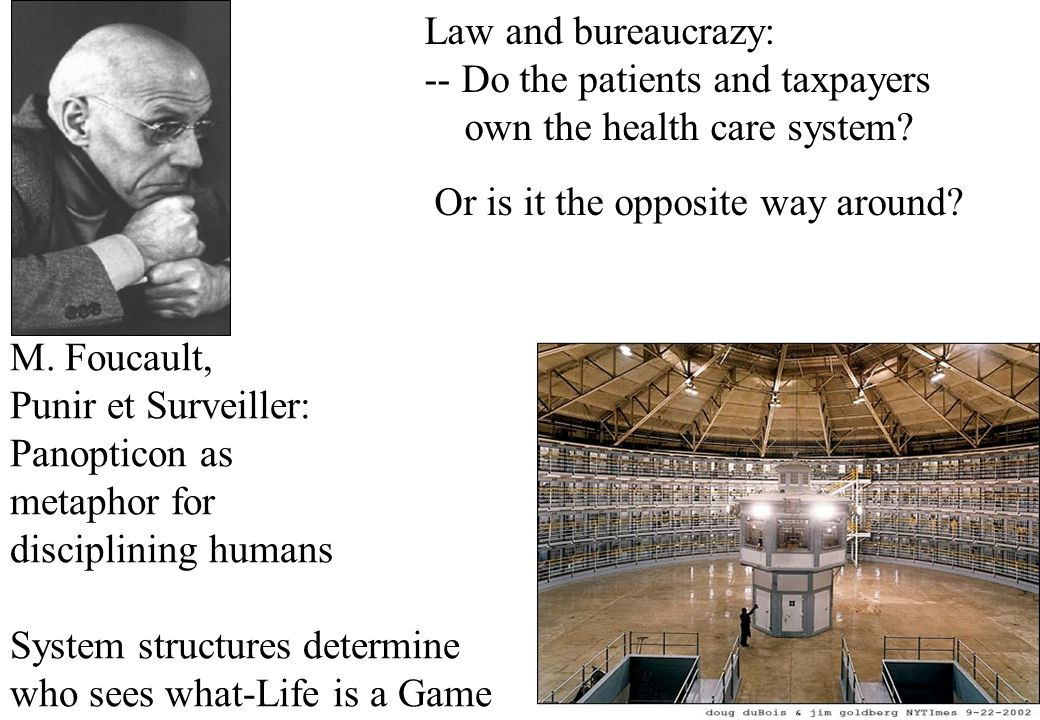 Law and bureaucrazy: -- Do the patients and taxpayers own the health care system? Or is it the opposite way around? M. Foucault, Punir et Surveiller: