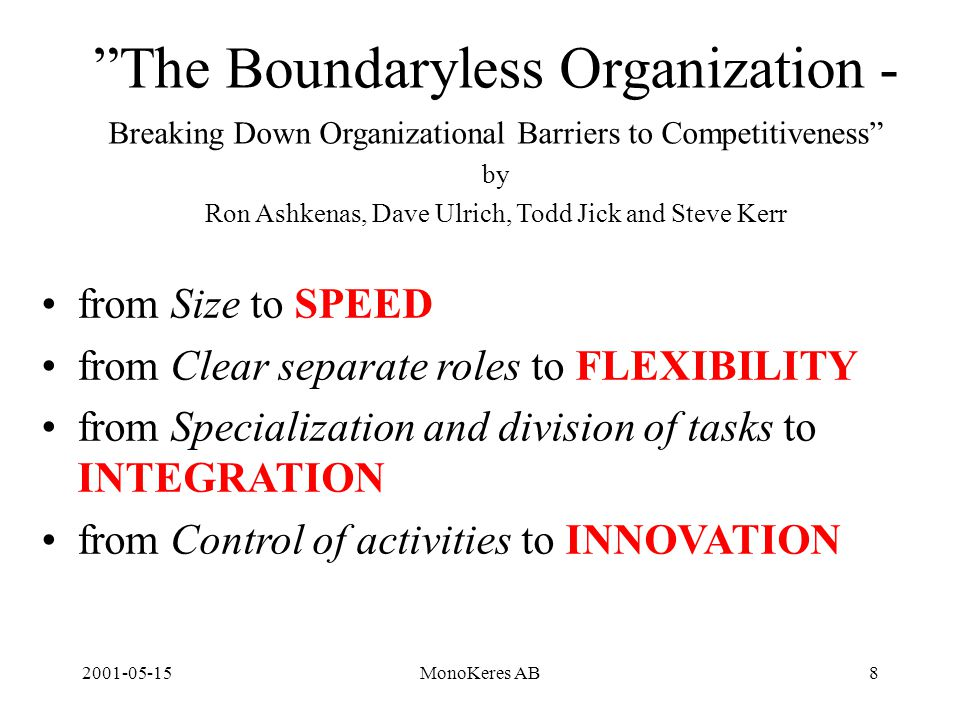 2001-05-15MonoKeres AB8 The Boundaryless Organization - Breaking Down Organizational Barriers to Competitiveness by Ron Ashkenas, Dave Ulrich, Todd Jick and Steve Kerr from Size to SPEED from Clear separate roles to FLEXIBILITY from Specialization and division of tasks to INTEGRATION from Control of activities to INNOVATION