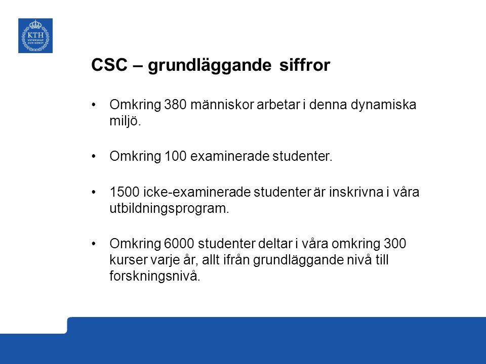 Forskningsområden vid CSC CSCDatalogi Medieteknik och interaktionsdesign Tal- och musikkommunikation
