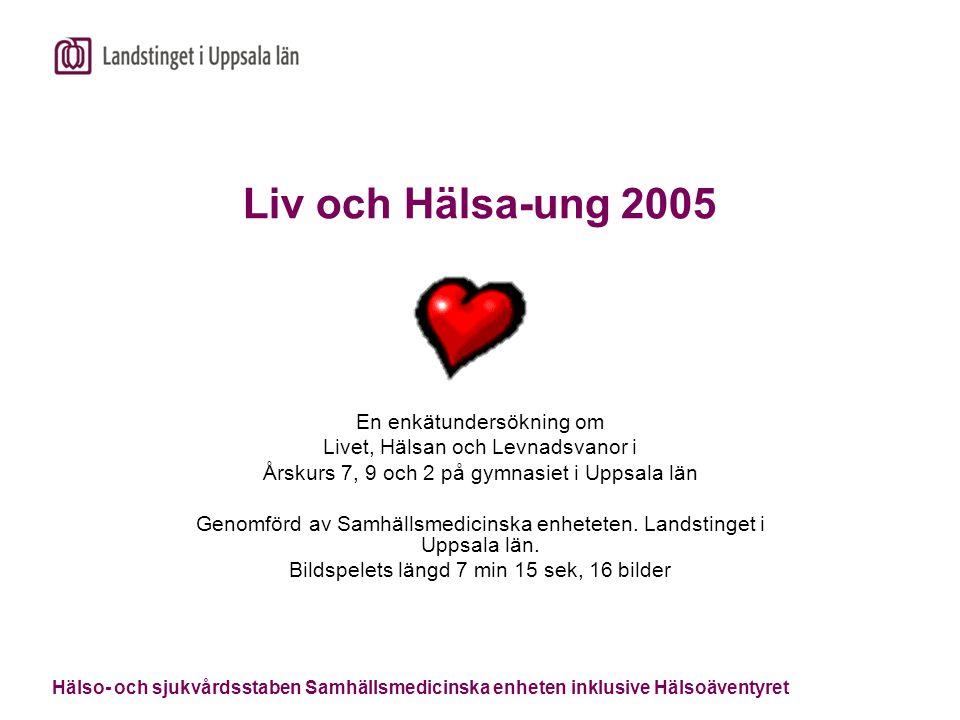 Hälso- och sjukvårdsstaben Samhällsmedicinska enheten inklusive Hälsoäventyret Liv och Hälsa-ung 2005 En enkätundersökning om Livet, Hälsan och Levnad