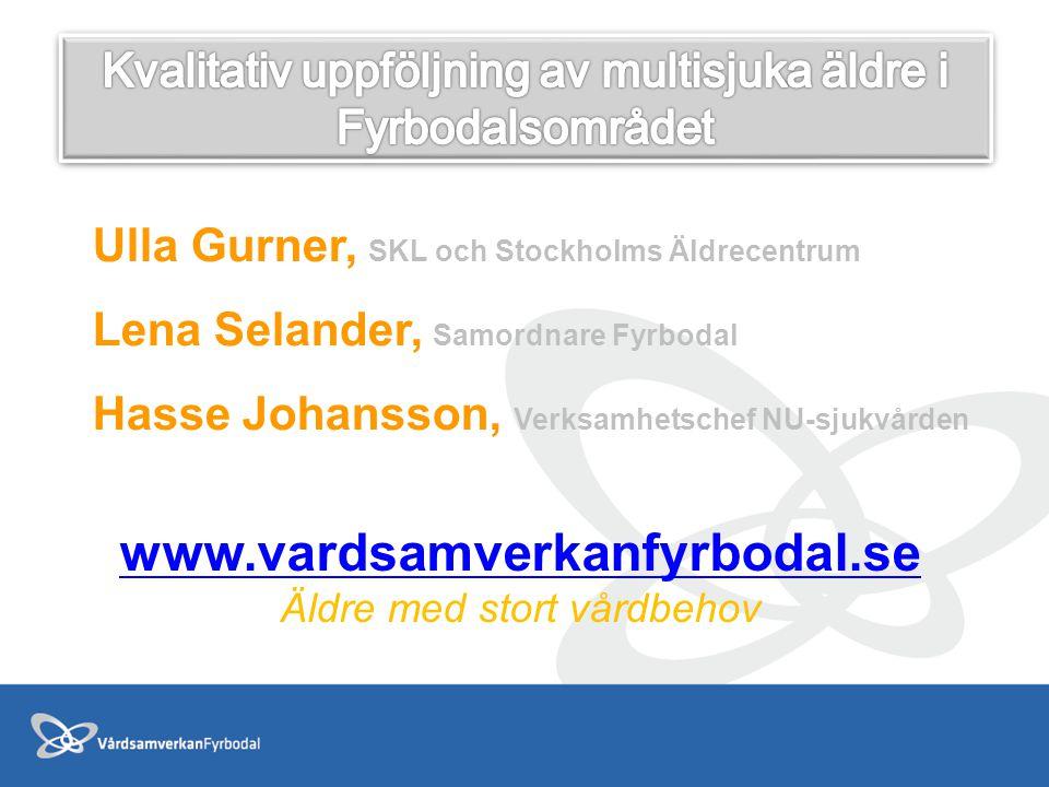 Ulla Gurner, SKL och Stockholms Äldrecentrum Lena Selander, Samordnare Fyrbodal Hasse Johansson, Verksamhetschef NU-sjukvården www.vardsamverkanfyrbod