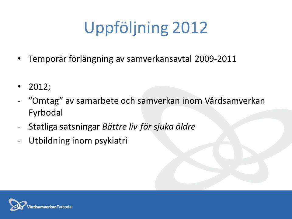 """Uppföljning 2012 Temporär förlängning av samverkansavtal 2009-2011 2012; -""""Omtag"""" av samarbete och samverkan inom Vårdsamverkan Fyrbodal -Statliga sat"""