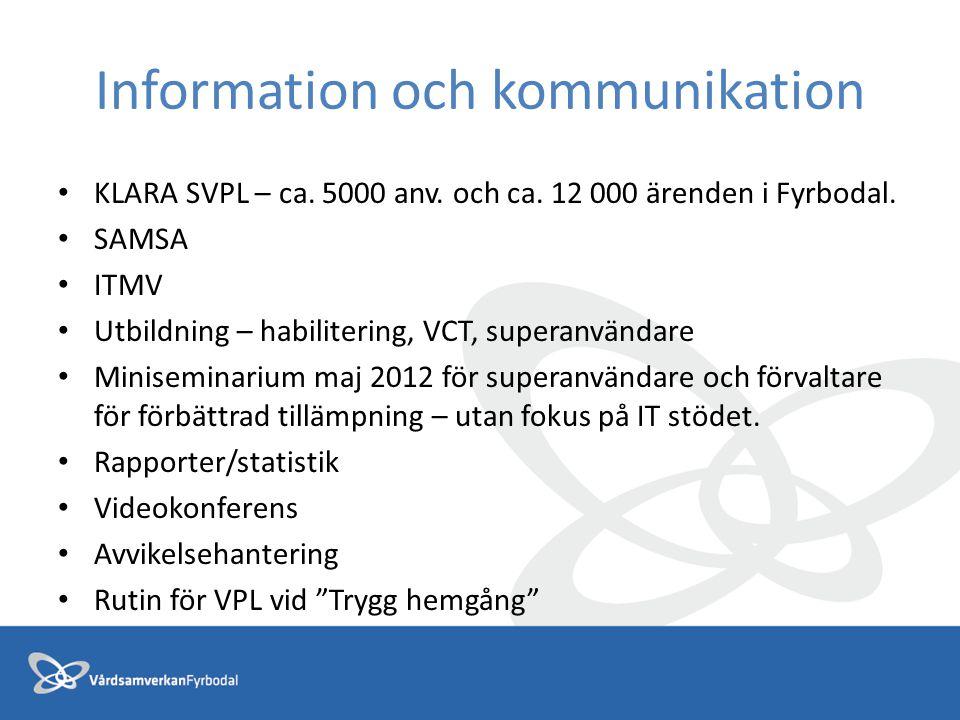 Information och kommunikation KLARA SVPL – ca. 5000 anv. och ca. 12 000 ärenden i Fyrbodal. SAMSA ITMV Utbildning – habilitering, VCT, superanvändare
