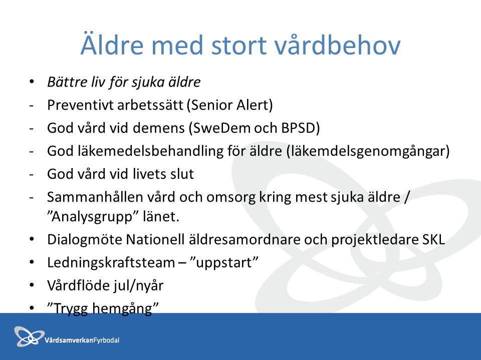 Äldre med stort vårdbehov Bättre liv för sjuka äldre -Preventivt arbetssätt (Senior Alert) -God vård vid demens (SweDem och BPSD) -God läkemedelsbehan