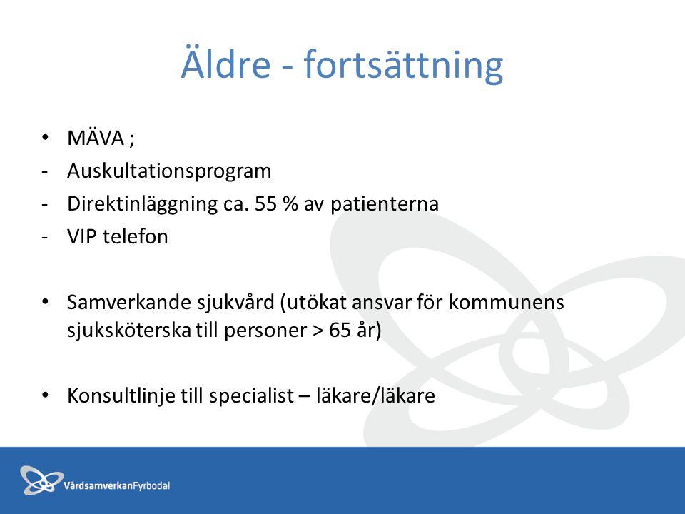 Äldre - fortsättning MÄVA ; -Auskultationsprogram -Direktinläggning ca. 55 % av patienterna -VIP telefon Samverkande sjukvård (utökat ansvar för kommu