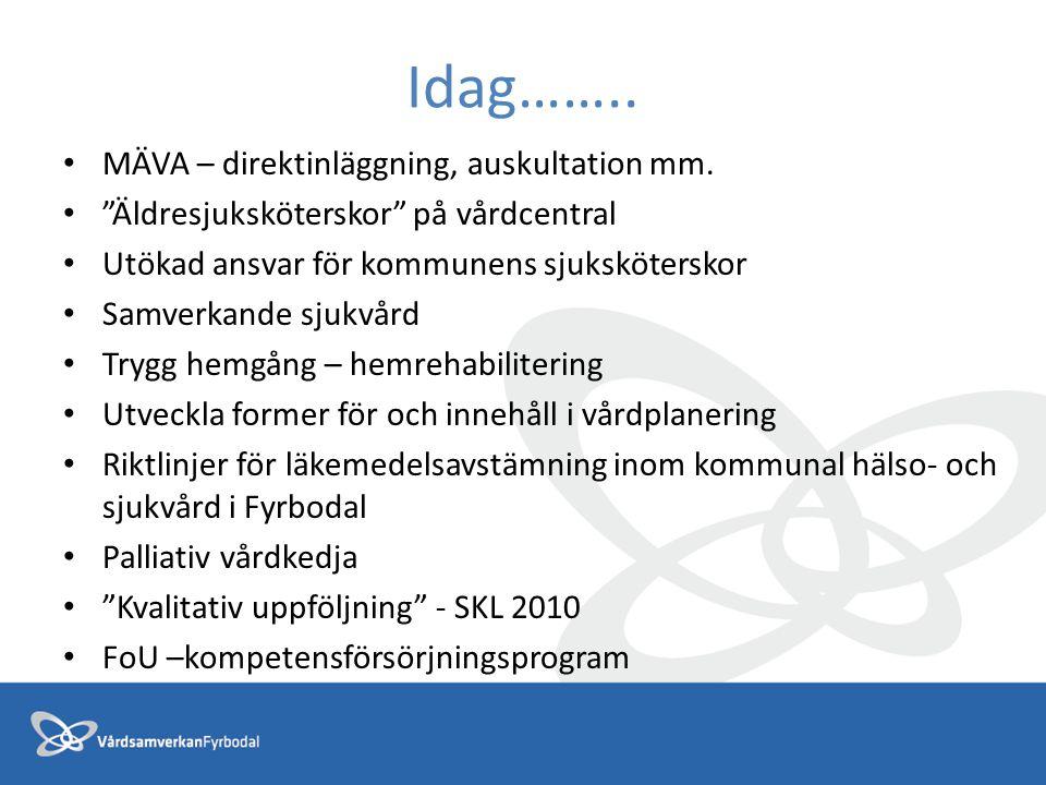 """Idag…….. MÄVA – direktinläggning, auskultation mm. """"Äldresjuksköterskor"""" på vårdcentral Utökad ansvar för kommunens sjuksköterskor Samverkande sjukvår"""