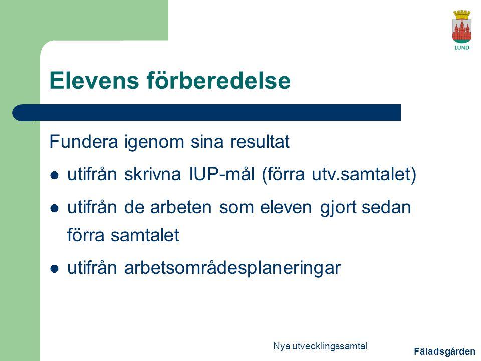 Fäladsgården Nya utvecklingssamtal Elevens förberedelse Fundera igenom sina resultat utifrån skrivna IUP-mål (förra utv.samtalet) utifrån de arbeten som eleven gjort sedan förra samtalet utifrån arbetsområdesplaneringar