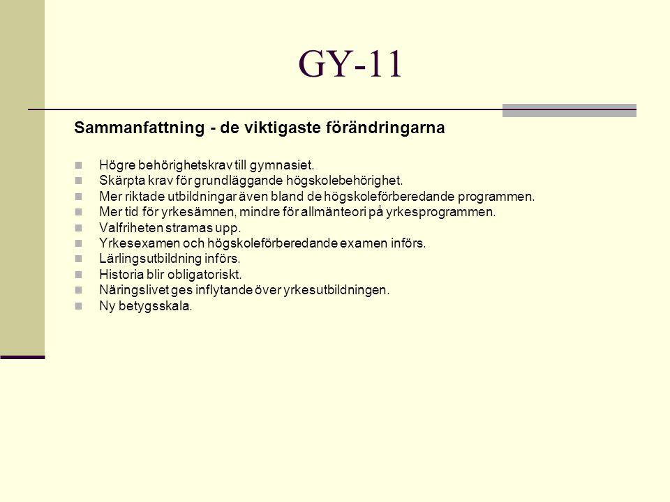 GY-11 Sammanfattning - de viktigaste förändringarna Högre behörighetskrav till gymnasiet.