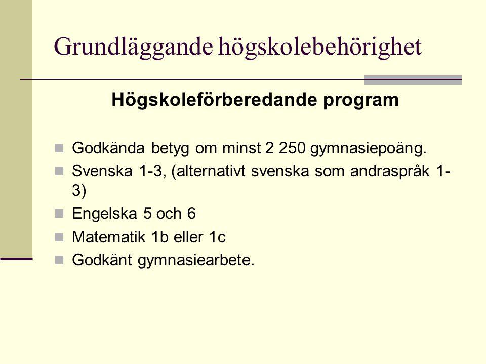 Grundläggande högskolebehörighet Högskoleförberedande program Godkända betyg om minst 2 250 gymnasiepoäng. Svenska 1-3, (alternativt svenska som andra