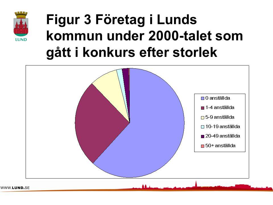 Figur 3 Företag i Lunds kommun under 2000-talet som gått i konkurs efter storlek