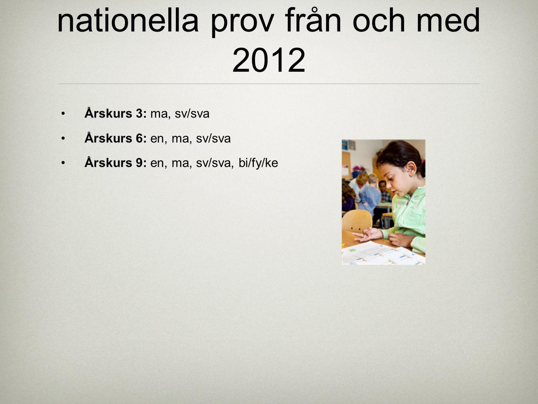 nationella prov från och med 2012 Årskurs 3: ma, sv/sva Årskurs 6: en, ma, sv/sva Årskurs 9: en, ma, sv/sva, bi/fy/ke