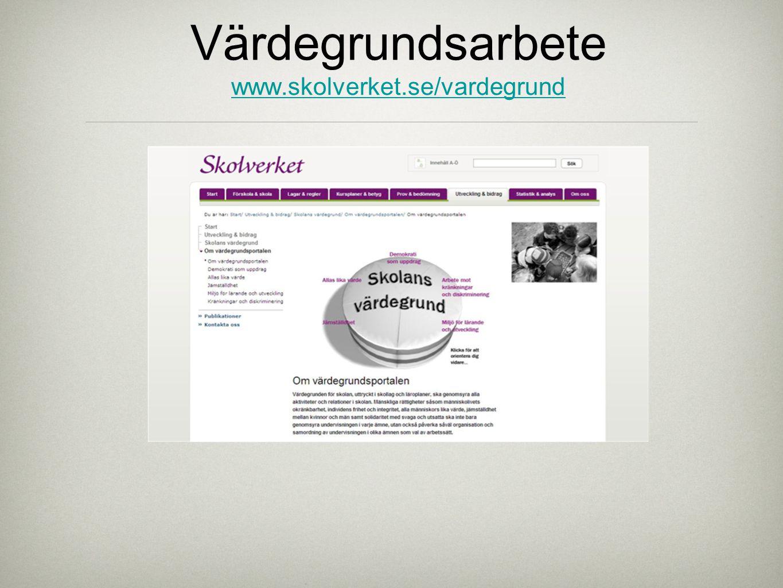 Värdegrundsarbete www.skolverket.se/vardegrund www.skolverket.se/vardegrund