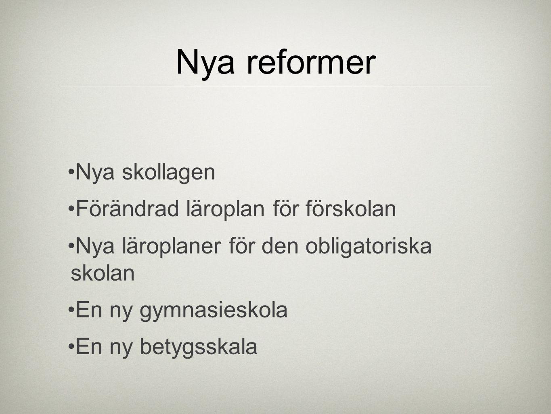 Nya reformer Nya skollagen Förändrad läroplan för förskolan Nya läroplaner för den obligatoriska skolan En ny gymnasieskola En ny betygsskala
