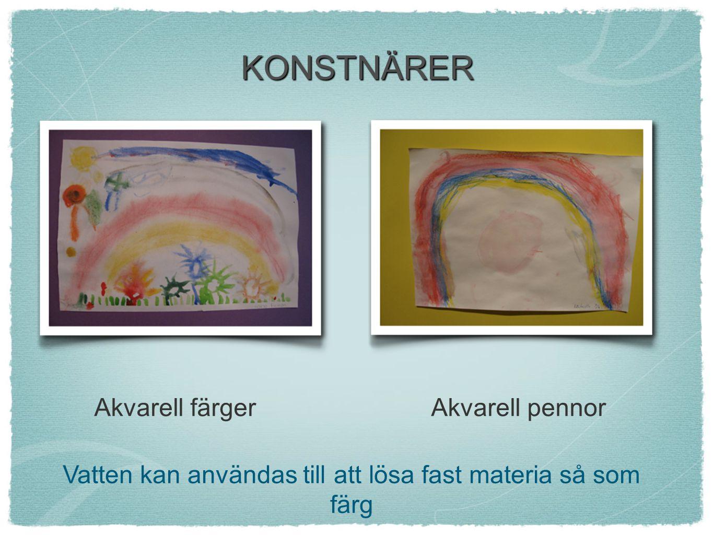 KONSTNÄRER Akvarell färgerAkvarell pennor Vatten kan användas till att lösa fast materia så som färg