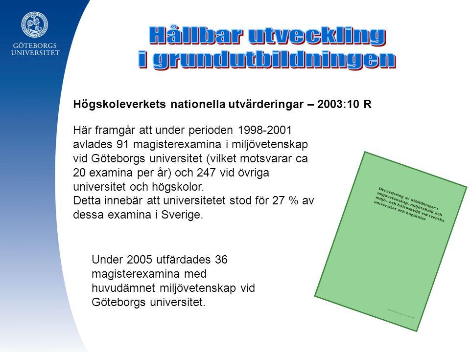 Här framgår att under perioden 1998-2001 avlades 91 magisterexamina i miljövetenskap vid Göteborgs universitet (vilket motsvarar ca 20 examina per år)