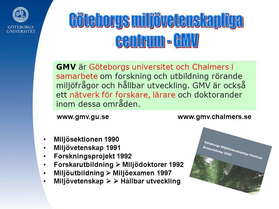 GMV är Göteborgs universitet och Chalmers i samarbete om forskning och utbildning rörande miljöfrågor och hållbar utveckling. GMV är också ett nätverk