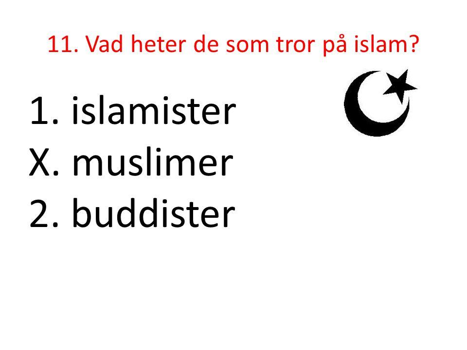 11. Vad heter de som tror på islam? 1. islamister X. muslimer 2. buddister