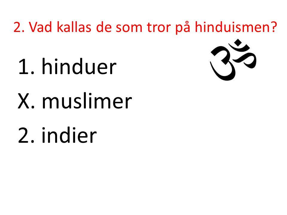 2. Vad kallas de som tror på hinduismen? 1. hinduer X. muslimer 2. indier