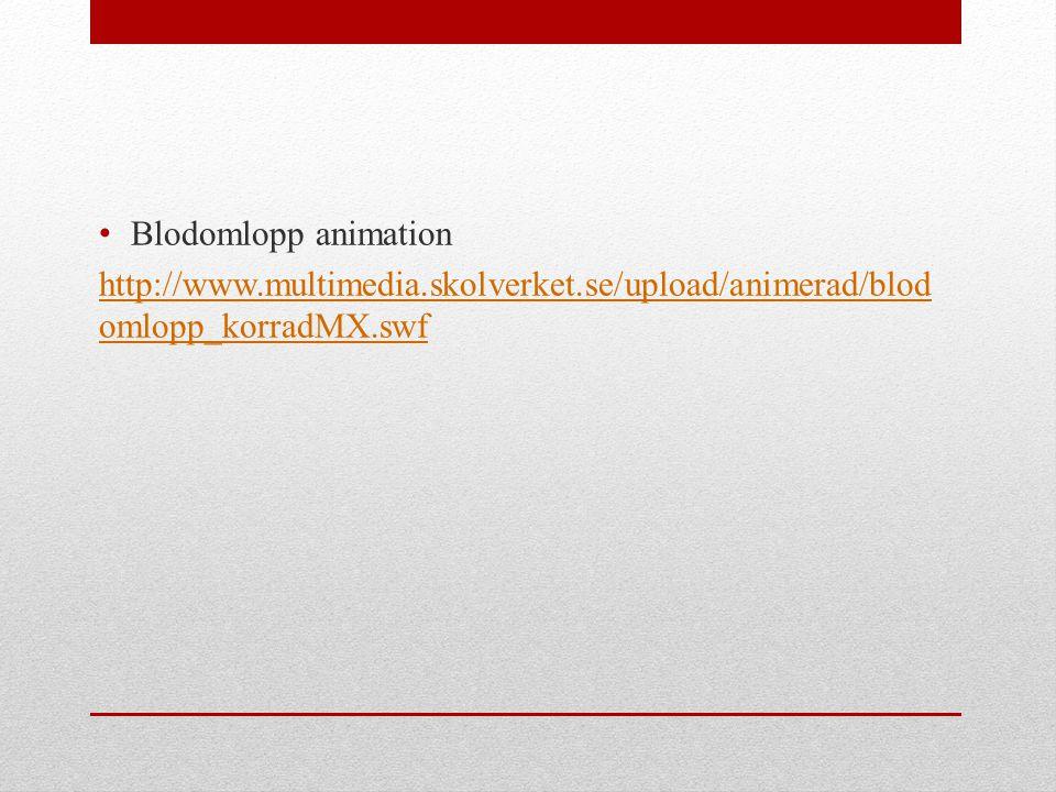 Blodomlopp animation http://www.multimedia.skolverket.se/upload/animerad/blod omlopp_korradMX.swf