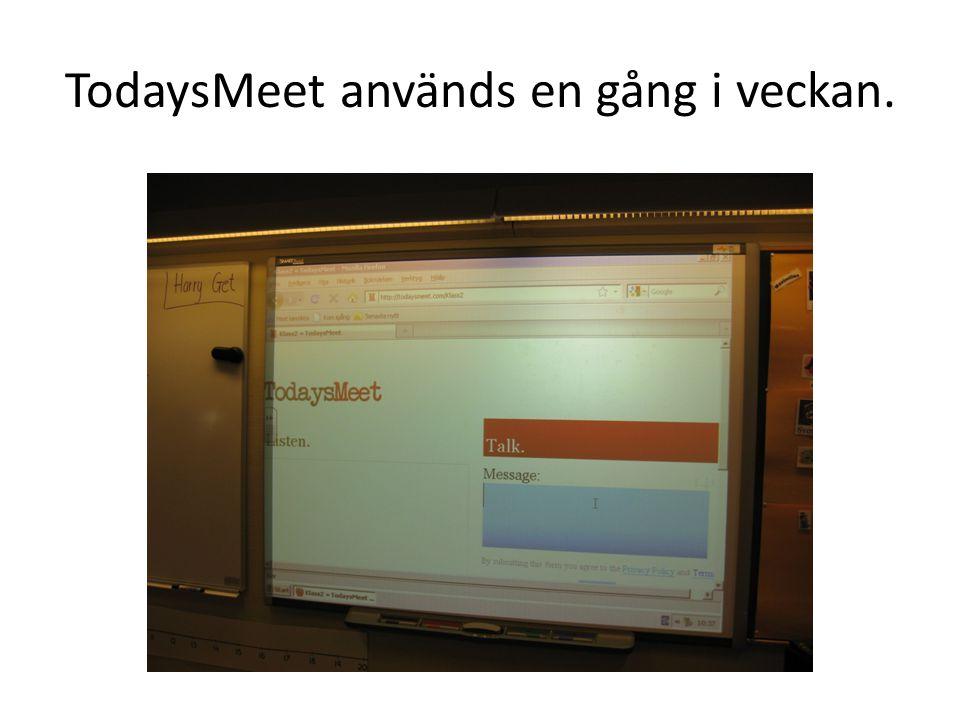 TodaysMeet används en gång i veckan.