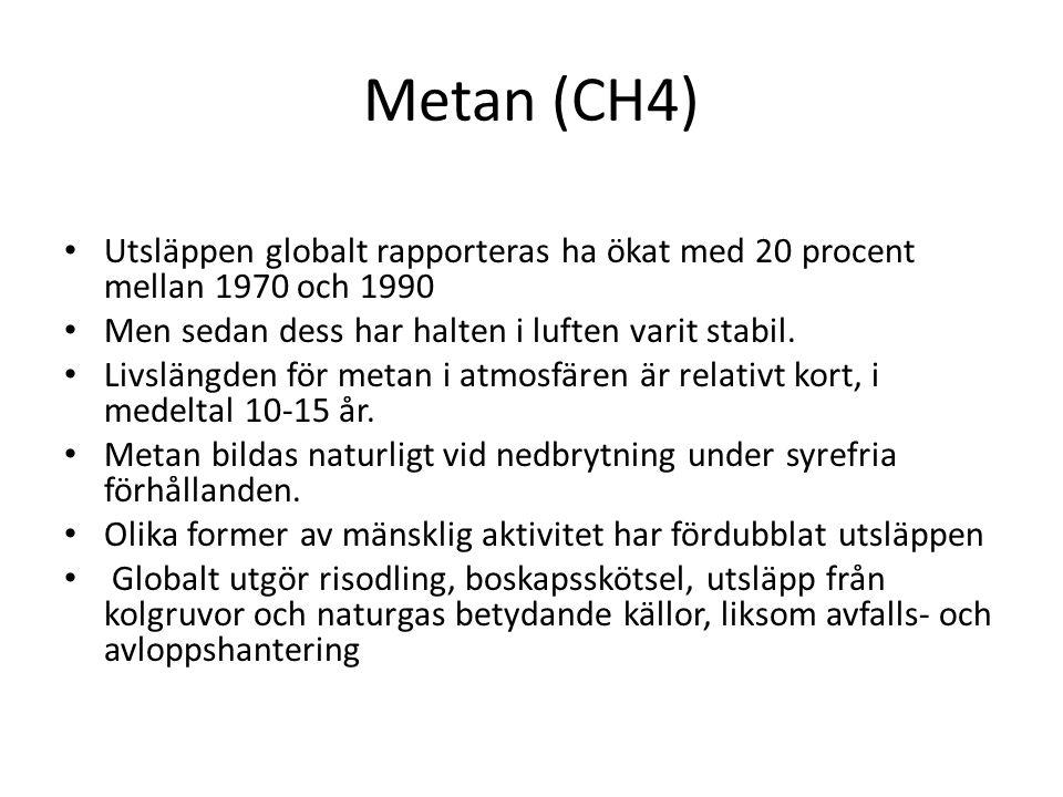 Metan (CH4) Utsläppen globalt rapporteras ha ökat med 20 procent mellan 1970 och 1990 Men sedan dess har halten i luften varit stabil. Livslängden för