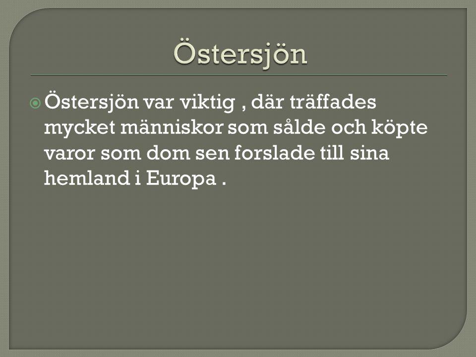  Östersjön var viktig, där träffades mycket människor som sålde och köpte varor som dom sen forslade till sina hemland i Europa.