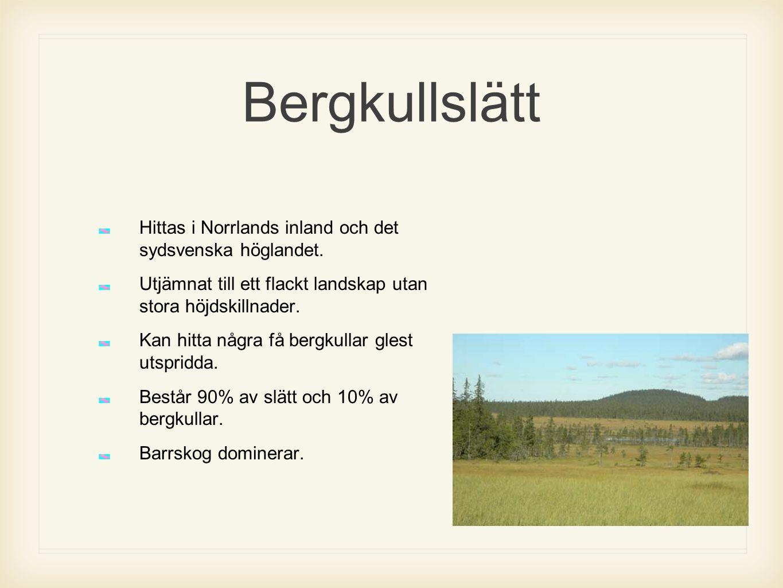 Bergkullslätt Hittas i Norrlands inland och det sydsvenska höglandet. Utjämnat till ett flackt landskap utan stora höjdskillnader. Kan hitta några få