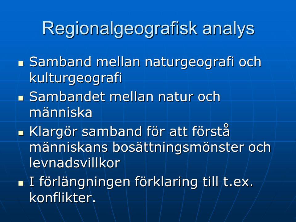 Regionalgeografisk analys Samband mellan naturgeografi och kulturgeografi Samband mellan naturgeografi och kulturgeografi Sambandet mellan natur och m