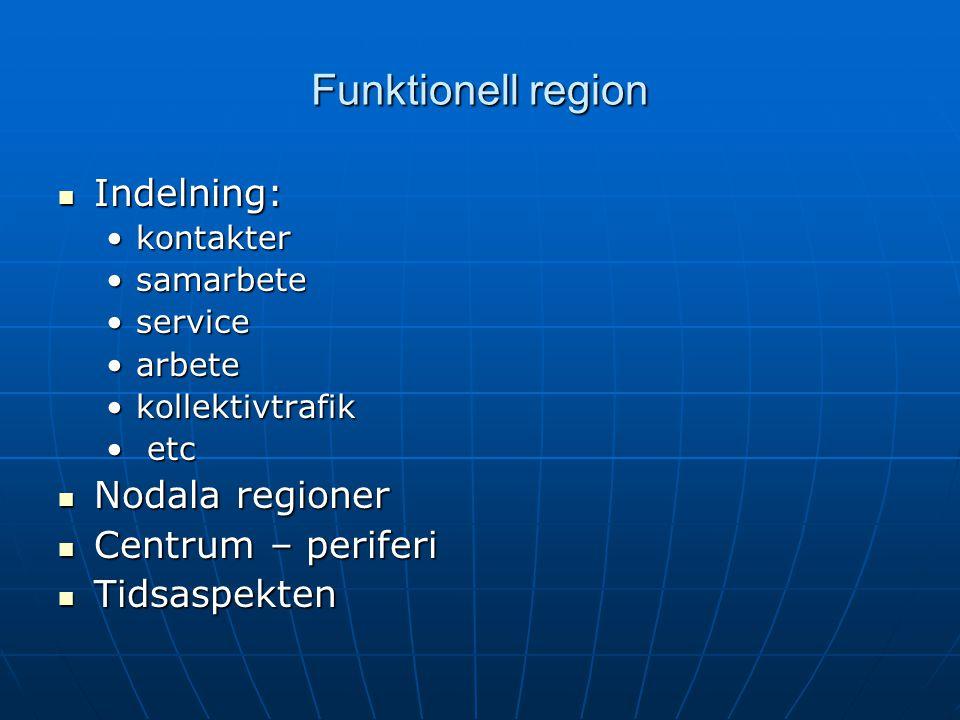Funktionell region Indelning: Indelning: kontakterkontakter samarbetesamarbete serviceservice arbetearbete kollektivtrafikkollektivtrafik etc etc Noda