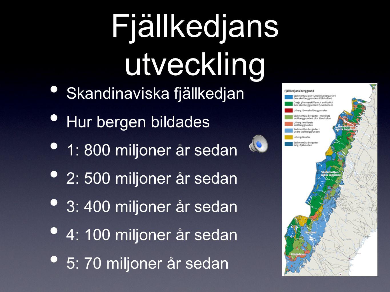 Fjällkedjans utveckling Skandinaviska fjällkedjan Hur bergen bildades 1: 800 miljoner år sedan 2: 500 miljoner år sedan 3: 400 miljoner år sedan 4: 10