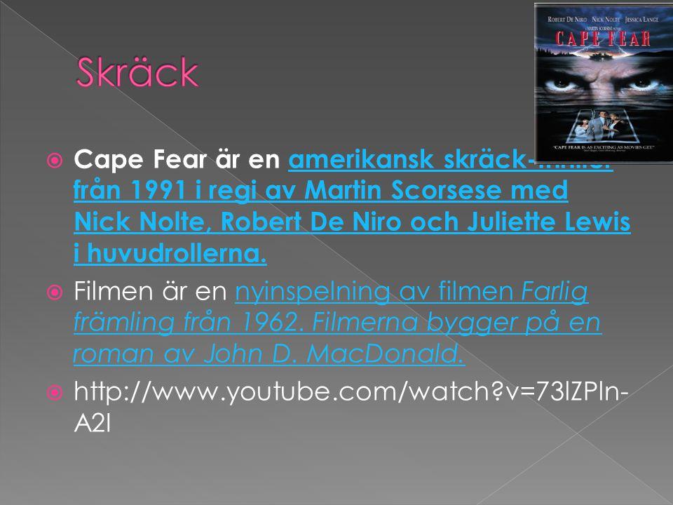  Cape Fear är en amerikansk skräck-thriller från 1991 i regi av Martin Scorsese med Nick Nolte, Robert De Niro och Juliette Lewis i huvudrollerna.amerikansk skräck-thriller från 1991 i regi av Martin Scorsese med Nick Nolte, Robert De Niro och Juliette Lewis i huvudrollerna.