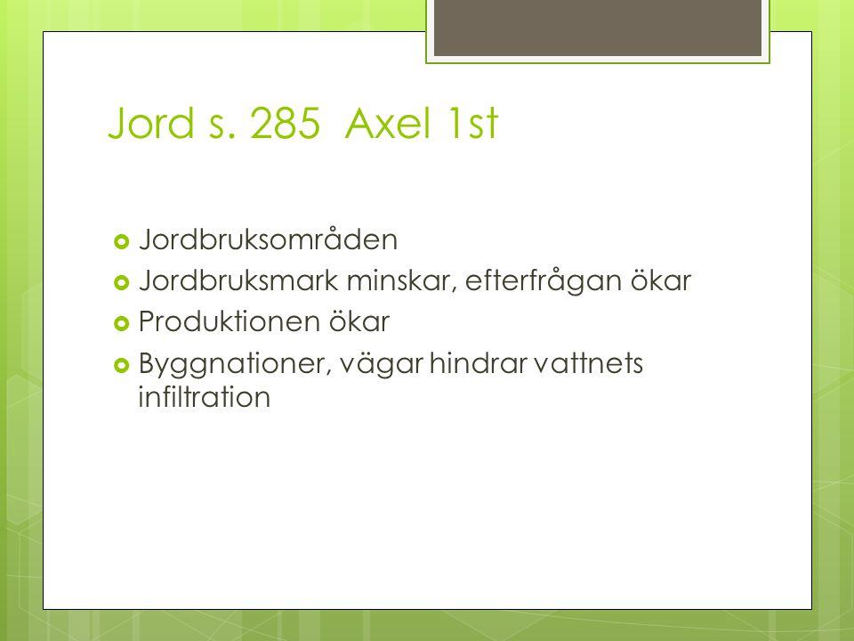 Jord s. 285 Axel 1st  Jordbruksområden  Jordbruksmark minskar, efterfrågan ökar  Produktionen ökar  Byggnationer, vägar hindrar vattnets infiltrat