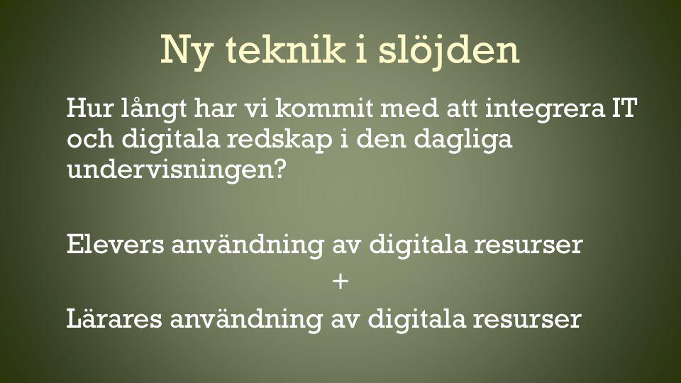 Ny teknik i slöjden Hur långt har vi kommit med att integrera IT och digitala redskap i den dagliga undervisningen? Elevers användning av digitala res