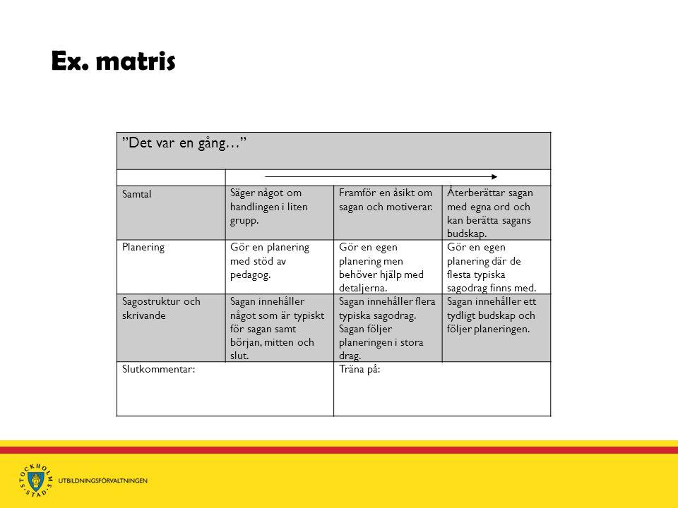 """Ex. matris """"Det var en gång…"""" Samtal Säger något om handlingen i liten grupp. Framför en åsikt om sagan och motiverar. Återberättar sagan med egna ord"""