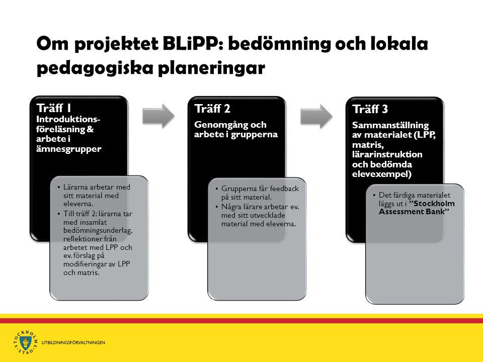 Om projektet BLiPP: bedömning och lokala pedagogiska planeringar Träff 1 Träff 1 Introduktions- föreläsning & arbete i ämnesgrupper Lärarna arbetar med sitt material med eleverna.