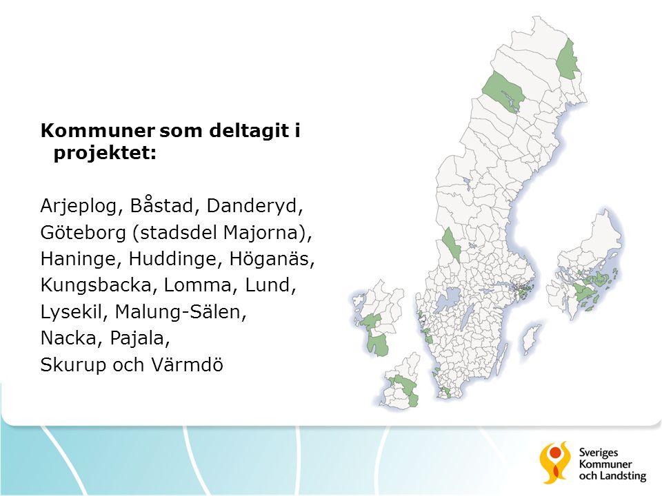 Kommuner som deltagit i projektet: Arjeplog, Båstad, Danderyd, Göteborg (stadsdel Majorna), Haninge, Huddinge, Höganäs, Kungsbacka, Lomma, Lund, Lysek