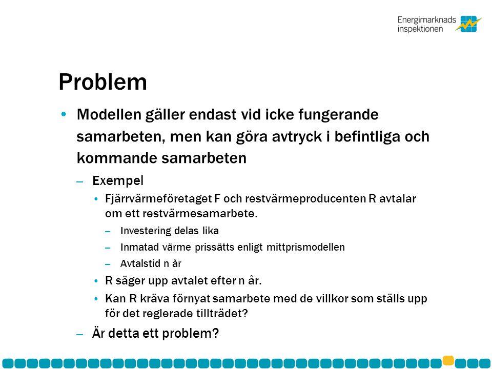 Problem Modellen gäller endast vid icke fungerande samarbeten, men kan göra avtryck i befintliga och kommande samarbeten – Exempel Fjärrvärmeföretaget F och restvärmeproducenten R avtalar om ett restvärmesamarbete.